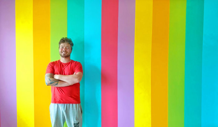 Instagrammable Wall - Office Feature Wall - Rainbow Wall - DIY Home Paint Projects - Edmonton - Lindork At Home