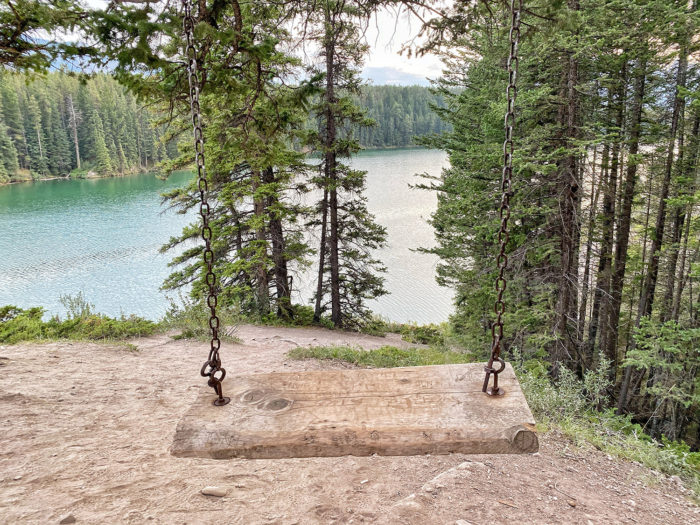 Explore Alberta - Banff National Park - Parks Canada - Johnson Lake - Mountain Adventure -Travel - Canmore - Sitting Swing Rocky Mountains