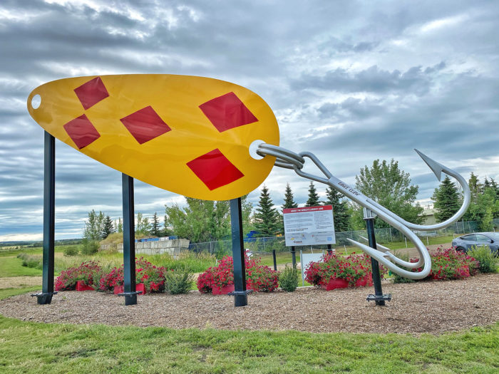 Linda Hoang - ATB Financial - Off The Beaten Path - Explore Alberta - Local Businesses Edmonton to Calgary Road Trip Day Trip - Lacombe - World's Largest Lure