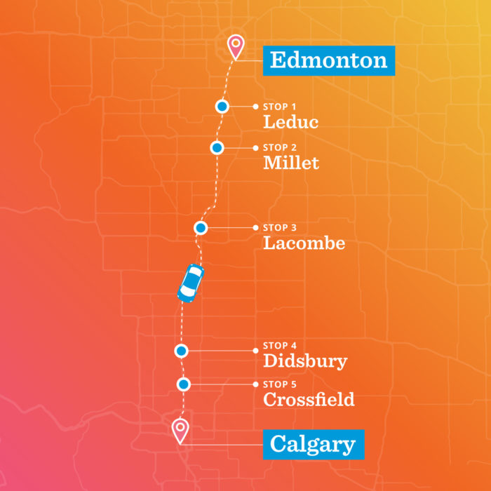 Linda Hoang - ATB Financial - Off The Beaten Path - Explore Alberta - Local Businesses Edmonton to Calgary Road Trip Day Trip - Route Map