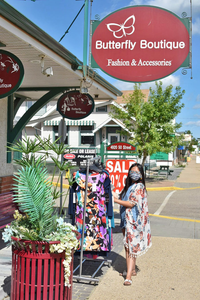 Linda Hoang - ATB Financial - Off The Beaten Path - Explore Alberta - Local Businesses Edmonton to Calgary Road Trip Day Trip - The Butterfly Boutique - Millet