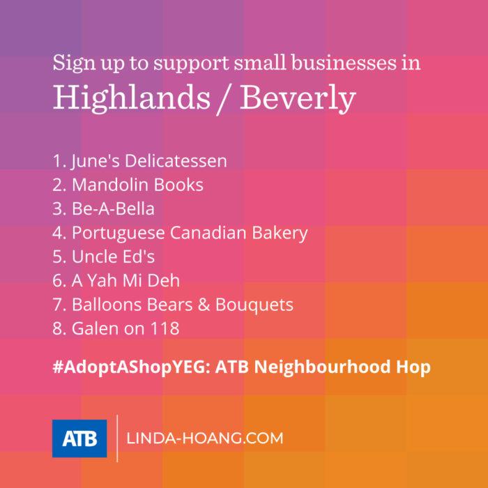 AdoptAShopYEG ATB Neighbourhood Hop - Itinerary - Highlands Beverly - Explore Edmonton - Shop Local - Support Small Business