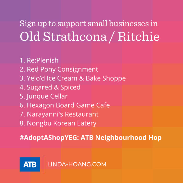 AdoptAShopYEG ATB Neighbourhood Hop - Itinerary - Old Strathcona - Whyte Avenue - Ritchie - Explore Edmonton - Shop Local - Support Small Business