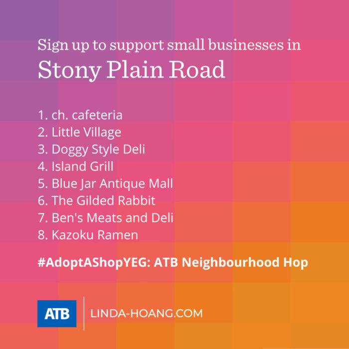 AdoptAShopYEG ATB Neighbourhood Hop - Itinerary - Stony Plain Road Explore Edmonton - Shop Support Small Business