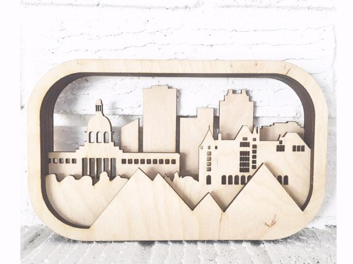 Laser cut City of Edmonton diorama - 35ltd Design- Explore Edmonton - Made in Edmonton - Ultimate Gift Guide Linda Hoang