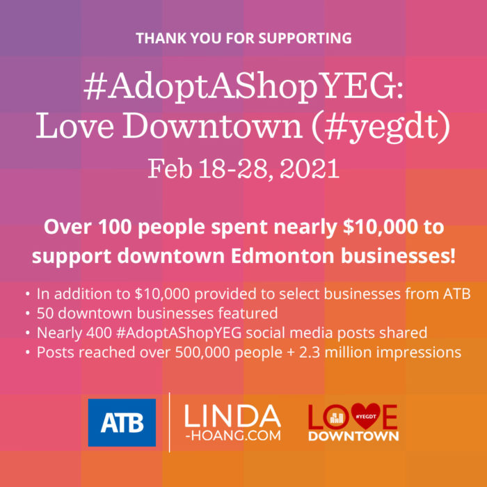 Adopt A Shop YEG Love Downtown Thank You Success