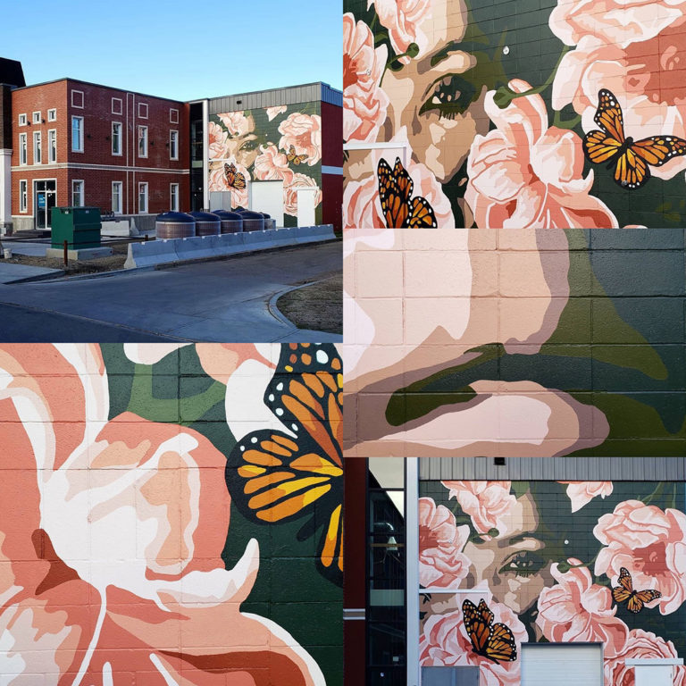 The Lady of Manchester Square - Alexandra Jade Art - Explore Edmonton - Instagrammable Wall - Walk Tour Short Story - Creative Writing