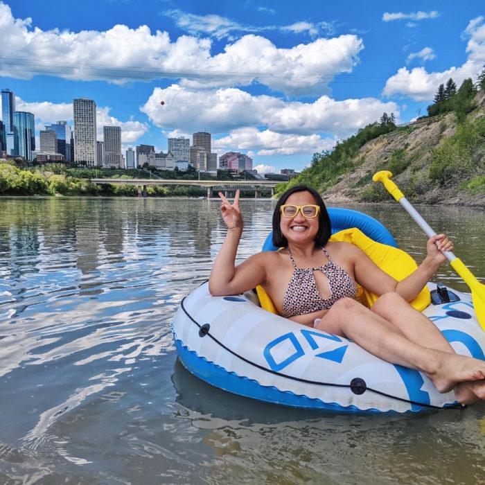 Floating Kayaking Water Activities on the North Saskatchewan River Edmonton - Explore Edmonton - Travel Alberta - Bask on the Sask