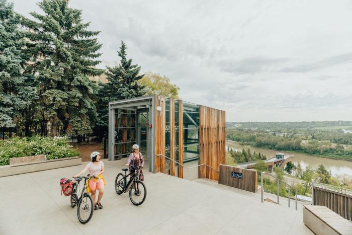Biking Edmonton - Bike Alberta - Explore Canada - Explore Edmonton - ZenSeekers - Cycling in the City - Edmonton Food Landmarks Neighbourhoods - River Valley Funicular