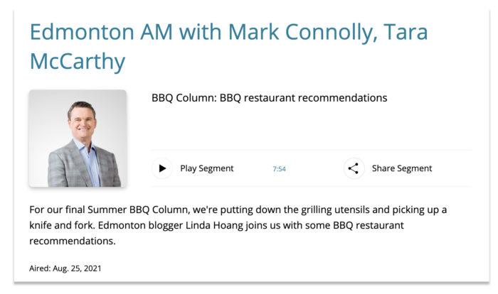 CBC Edmonton AM - BBQ Recommendations - Explore Edmonton Food